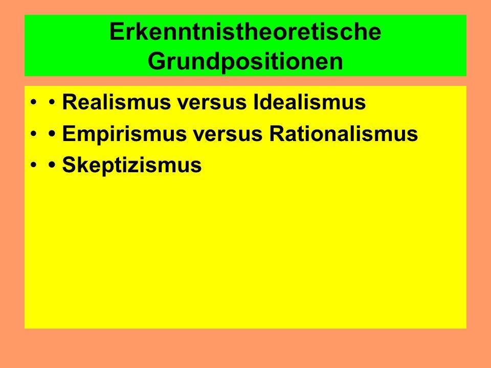 Erkenntnistheoretische Grundpositionen Realismus versus Idealismus Empirismus versus Rationalismus Skeptizismus