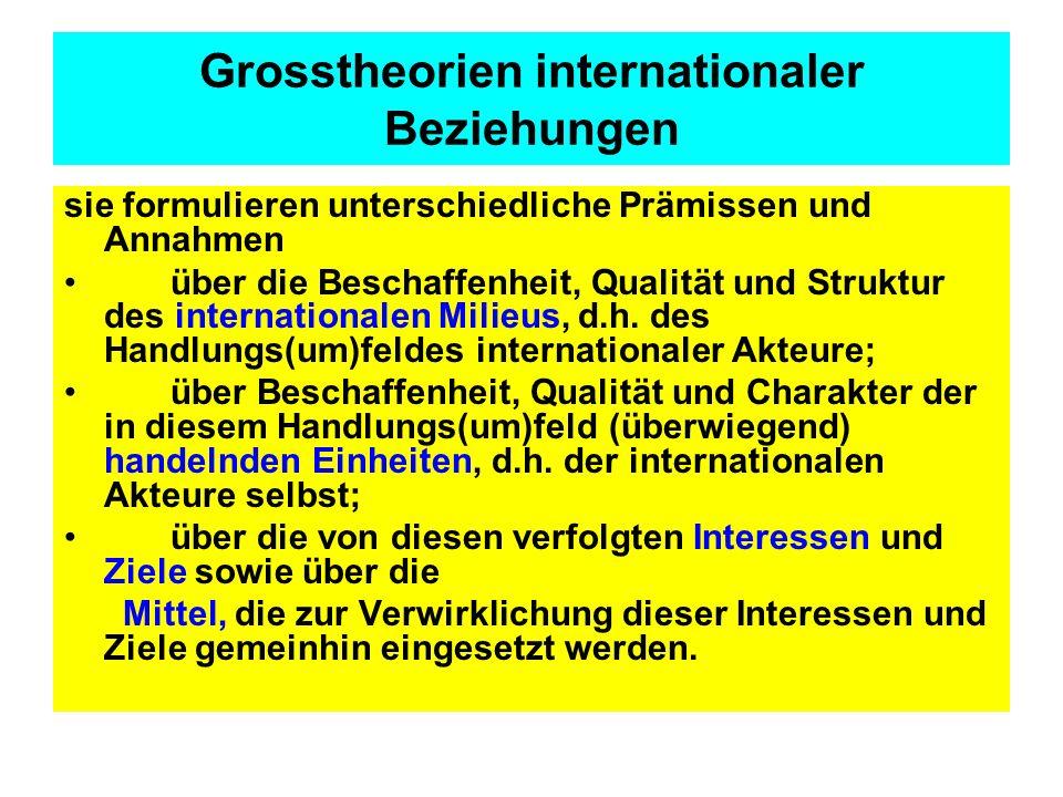 Grosstheorien internationaler Beziehungen sie formulieren unterschiedliche Prämissen und Annahmen über die Beschaffenheit, Qualität und Struktur des i