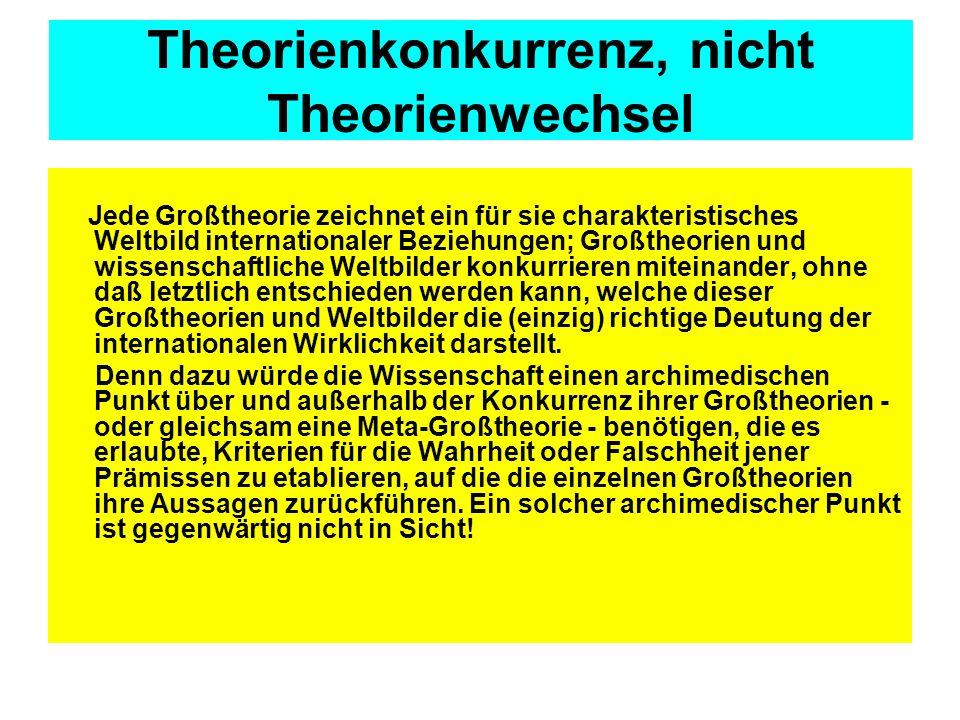 Theorienkonkurrenz, nicht Theorienwechsel Jede Großtheorie zeichnet ein für sie charakteristisches Weltbild internationaler Beziehungen; Großtheorien