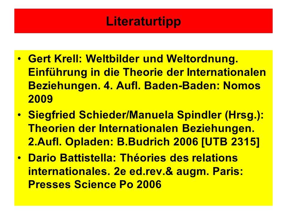 Literaturtipp Gert Krell: Weltbilder und Weltordnung. Einführung in die Theorie der Internationalen Beziehungen. 4. Aufl. Baden-Baden: Nomos 2009 Sieg