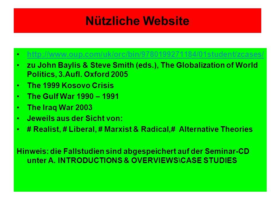 Nützliche Website http://www.oup.com/uk/orc/bin/9780199271184/01student/zcases/ zu John Baylis & Steve Smith (eds.), The Globalization of World Politi