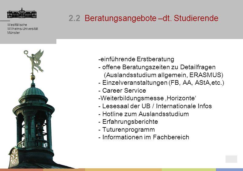 Westfälische Wilhelms-Universität Münster Westfälische Wilhelms-Universität Münster Westfälische Wilhelms-Universität Münster 2.2 Beratungsangebote –d