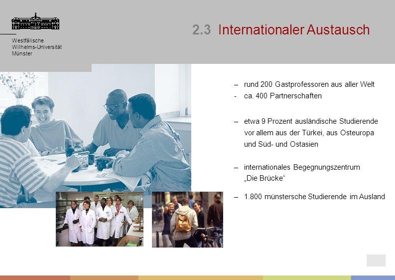 Westfälische Wilhelms-Universität Münster Westfälische Wilhelms-Universität Münster –rund 200 Gastprofessoren aus aller Welt - ca. 400 Partnerschaften