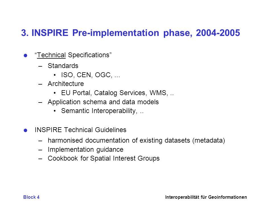 Block 4Interoperabilität für Geoinformationen 3. INSPIRE Pre-implementation phase, 2004-2005 Technical Specifications –Standards ISO, CEN, OGC,... –Ar