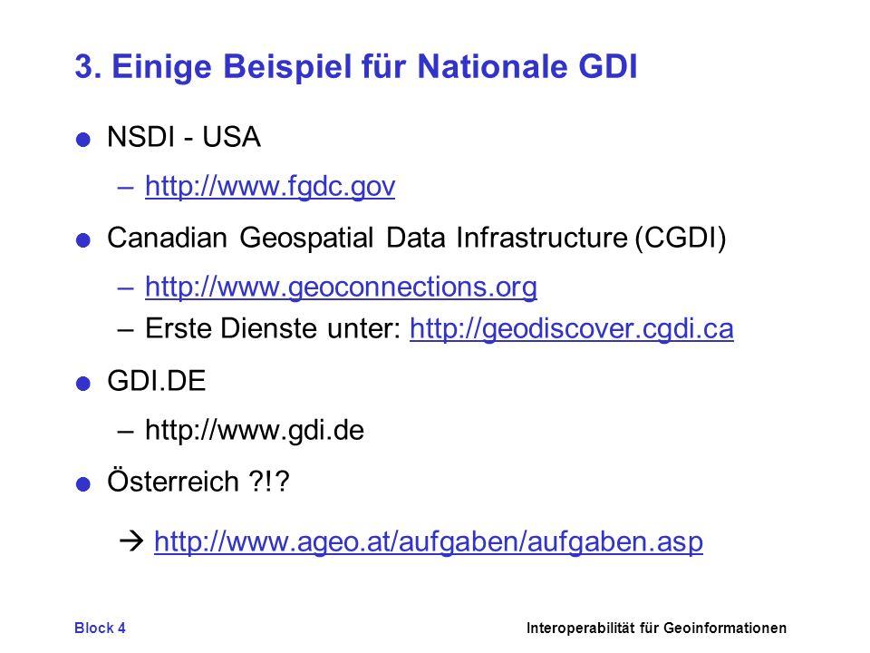 Block 4Interoperabilität für Geoinformationen 3. Einige Beispiel für Nationale GDI NSDI - USA –http://www.fgdc.gov Canadian Geospatial Data Infrastruc