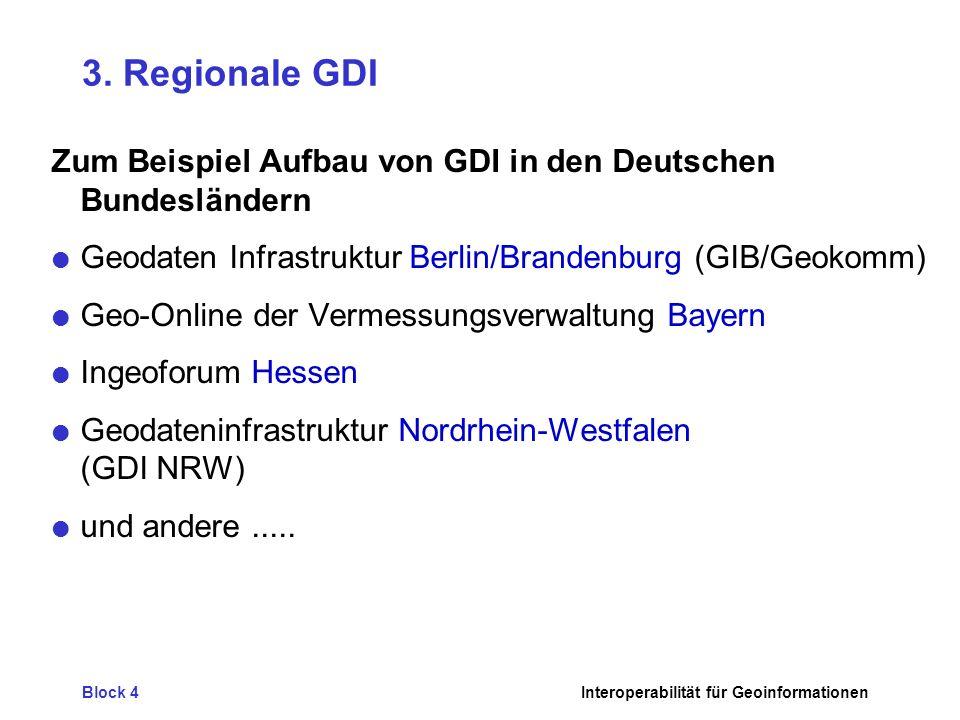 Block 4Interoperabilität für Geoinformationen 3. Regionale GDI Zum Beispiel Aufbau von GDI in den Deutschen Bundesländern Geodaten Infrastruktur Berli