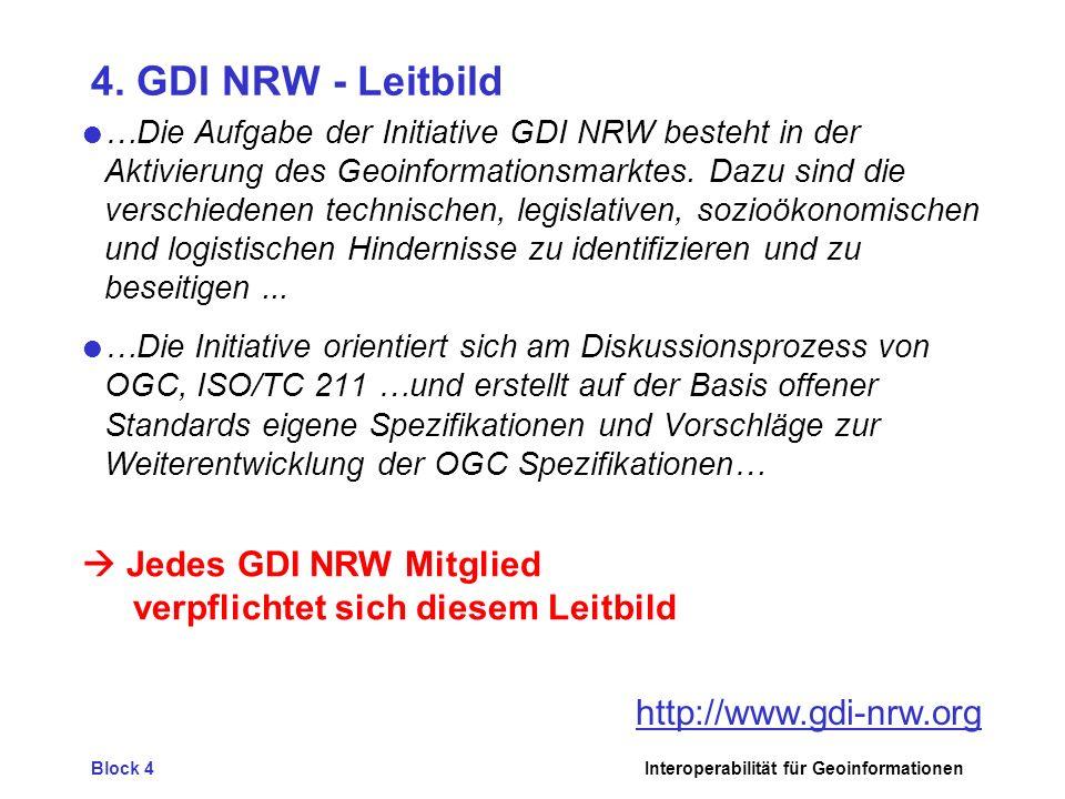 Block 4Interoperabilität für Geoinformationen 4. GDI NRW - Leitbild …Die Aufgabe der Initiative GDI NRW besteht in der Aktivierung des Geoinformations