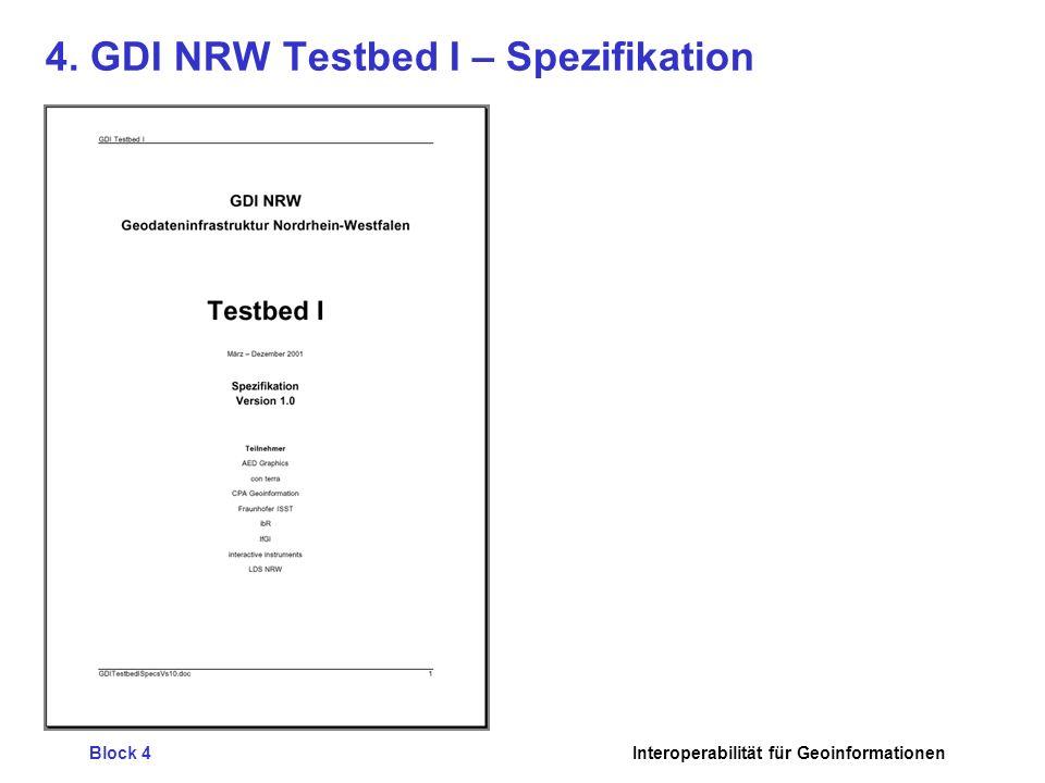 Block 4Interoperabilität für Geoinformationen 4. GDI NRW Testbed I – Spezifikation
