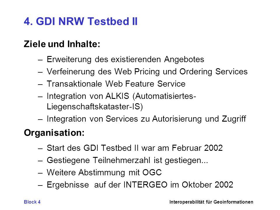 Block 4Interoperabilität für Geoinformationen 4. GDI NRW Testbed II Ziele und Inhalte: –Erweiterung des existierenden Angebotes –Verfeinerung des Web
