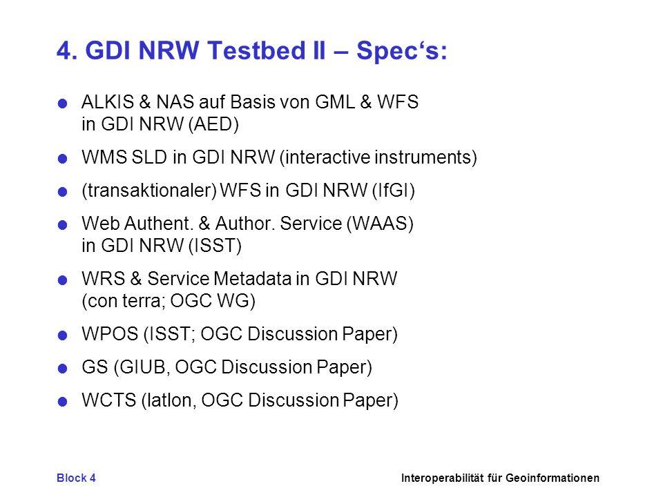 Block 4Interoperabilität für Geoinformationen 4. GDI NRW Testbed II – Specs: ALKIS & NAS auf Basis von GML & WFS in GDI NRW (AED) WMS SLD in GDI NRW (