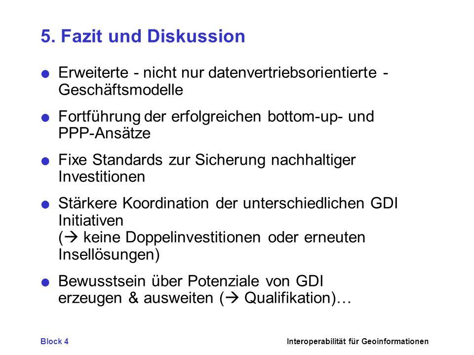 Block 4Interoperabilität für Geoinformationen 5. Fazit und Diskussion Erweiterte - nicht nur datenvertriebsorientierte - Geschäftsmodelle Fortführung