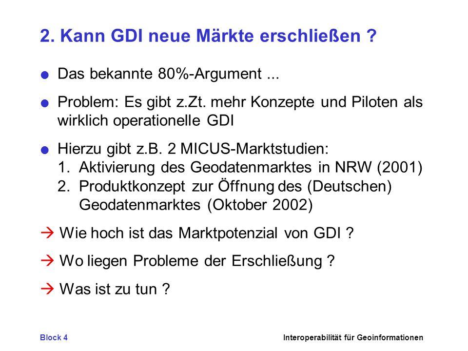 Block 4Interoperabilität für Geoinformationen 2. Kann GDI neue Märkte erschließen ? Das bekannte 80%-Argument... Problem: Es gibt z.Zt. mehr Konzepte