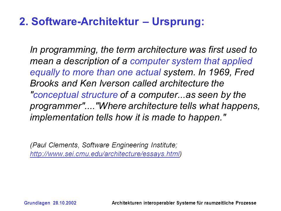 Grundlagen 28.10.2002Architekturen interoperabler Systeme für raumzeitliche Prozesse 4.