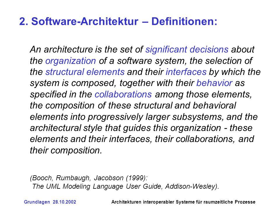 Grundlagen 28.10.2002Architekturen interoperabler Systeme für raumzeitliche Prozesse 6.