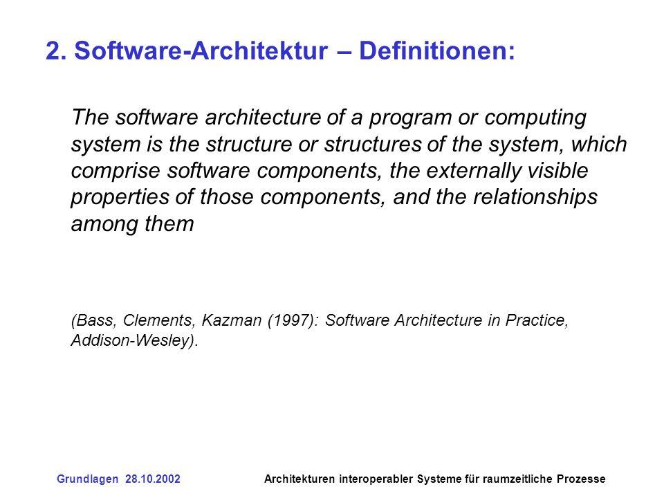Grundlagen 28.10.2002Architekturen interoperabler Systeme für raumzeitliche Prozesse 3.