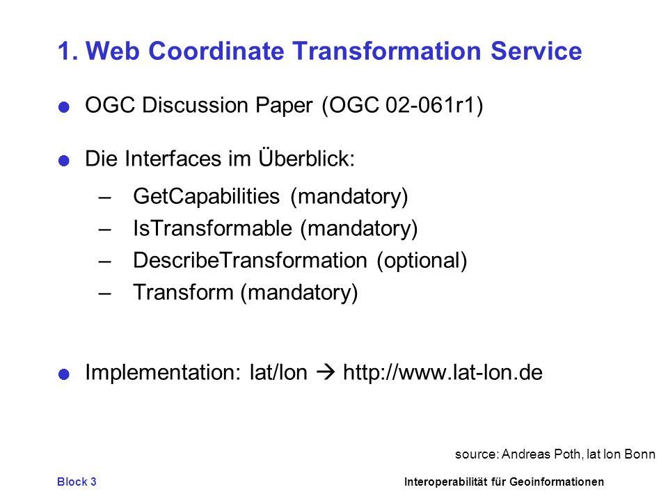 Block 3Interoperabilität für Geoinformationen 1.