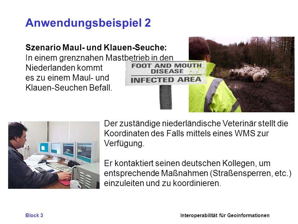Block 3Interoperabilität für Geoinformationen Anwendungsbeispiel 2 Szenario Maul- und Klauen-Seuche: In einem grenznahen Mastbetrieb in den Niederlanden kommt es zu einem Maul- und Klauen-Seuchen Befall.