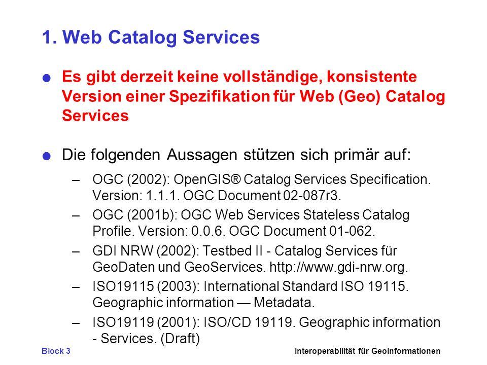 Block 3Interoperabilität für Geoinformationen 3.Fazit - GI-Dienste, also kein GIS mehr.