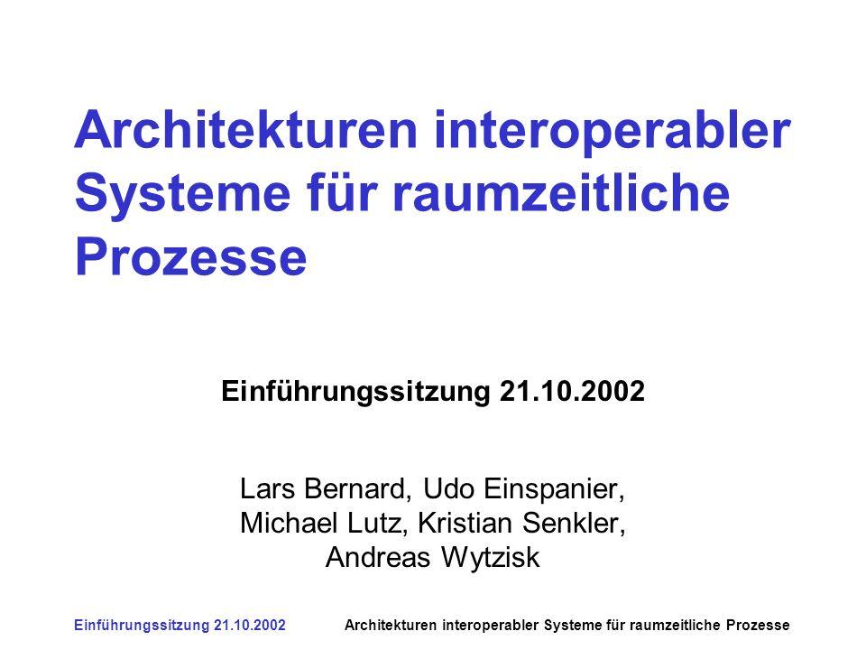 Einführungssitzung 21.10.2002Architekturen interoperabler Systeme für raumzeitliche Prozesse Ziel des Seminars Überblick und Verständnis über Entwurf von Software-Architekturen für raumzeitliche Prozesse: –generelle Aspekte von Softwarearchitekturen –gängige Grundlagen für Verteilte Architekturen (CORBA, COM, WEB/HTTP) –gängige Grundlagen höhere Protokolle (XML,SOAP) –spezielle Ansätze für Raum und Zeit (OGC, HLA)