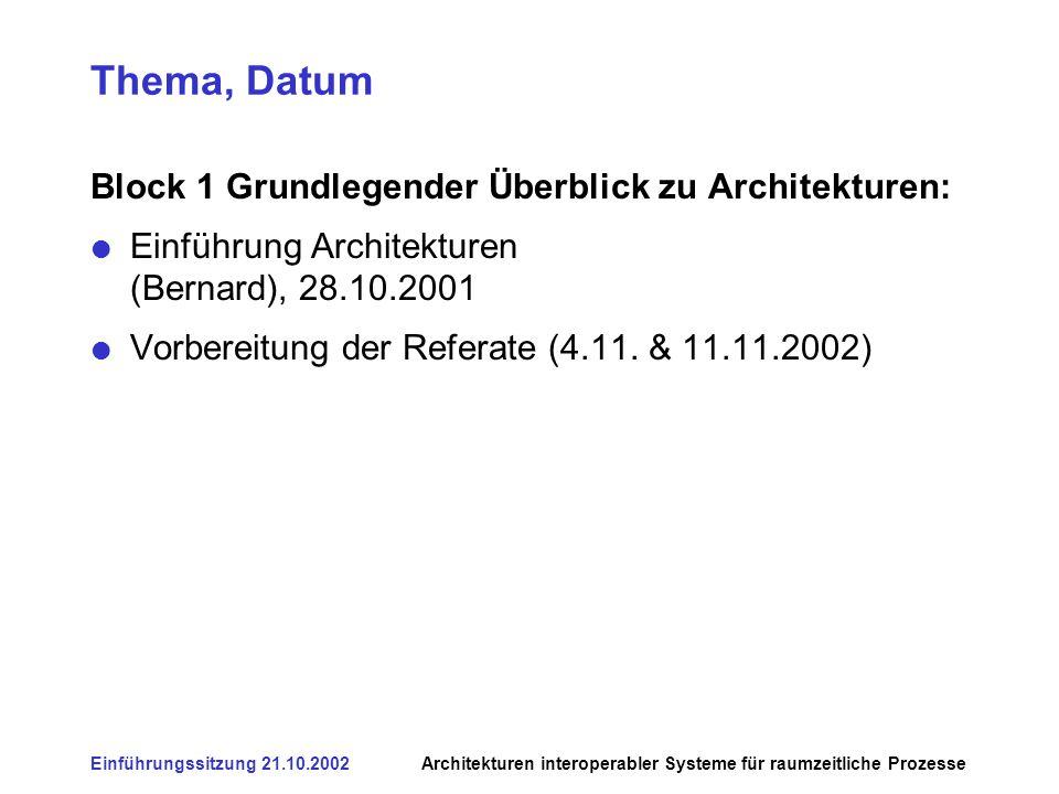 Einführungssitzung 21.10.2002Architekturen interoperabler Systeme für raumzeitliche Prozesse Thema, Datum Block 1 Grundlegender Überblick zu Architekturen: Einführung Architekturen (Bernard), 28.10.2001 Vorbereitung der Referate (4.11.