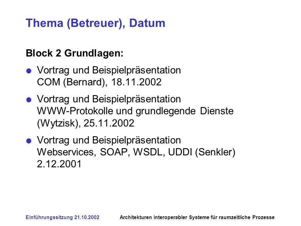 Einführungssitzung 21.10.2002Architekturen interoperabler Systeme für raumzeitliche Prozesse Thema (Betreuer), Datum Block 2 Grundlagen: Vortrag und Beispielpräsentation COM (Bernard), 18.11.2002 Vortrag und Beispielpräsentation WWW-Protokolle und grundlegende Dienste (Wytzisk), 25.11.2002 Vortrag und Beispielpräsentation Webservices, SOAP, WSDL, UDDI (Senkler) 2.12.2001