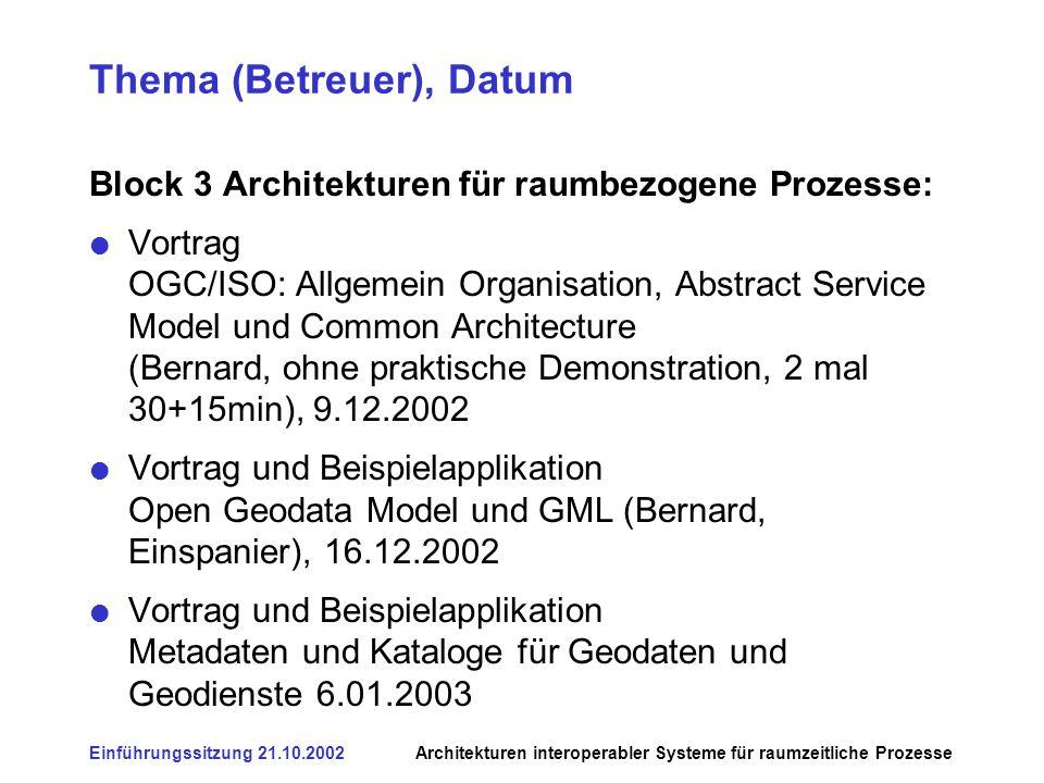 Einführungssitzung 21.10.2002Architekturen interoperabler Systeme für raumzeitliche Prozesse Thema (Betreuer), Datum Block 3 Architekturen für raumbez