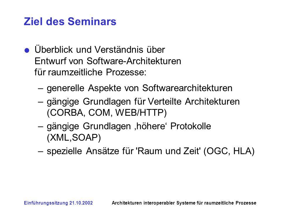 Einführungssitzung 21.10.2002Architekturen interoperabler Systeme für raumzeitliche Prozesse Ziel des Seminars - 2 Gemeinsam sollen die aus Sicht der Geoinformatik erkennbaren Potenziale & Defizite dieser Initiativen diskutiert und erarbeitet werden.