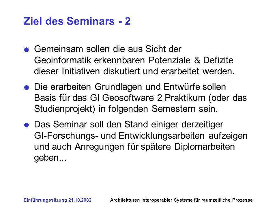 Einführungssitzung 21.10.2002Architekturen interoperabler Systeme für raumzeitliche Prozesse Ziel des Seminars - 2 Gemeinsam sollen die aus Sicht der