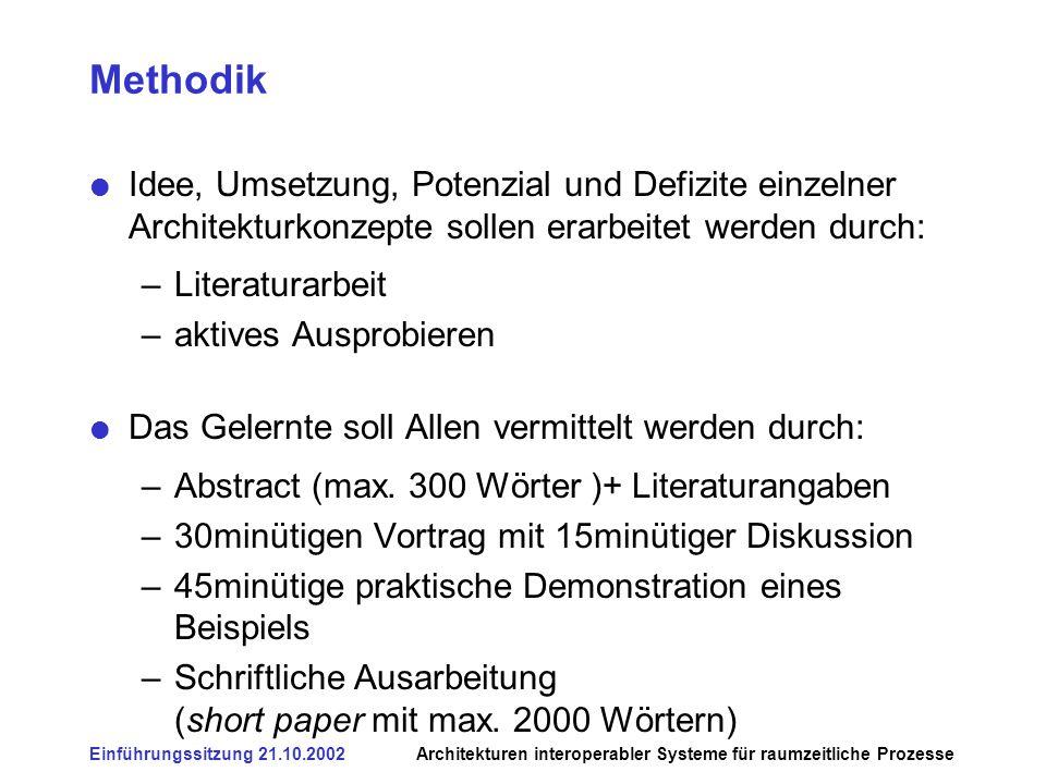 Einführungssitzung 21.10.2002Architekturen interoperabler Systeme für raumzeitliche Prozesse Methodik Idee, Umsetzung, Potenzial und Defizite einzelne
