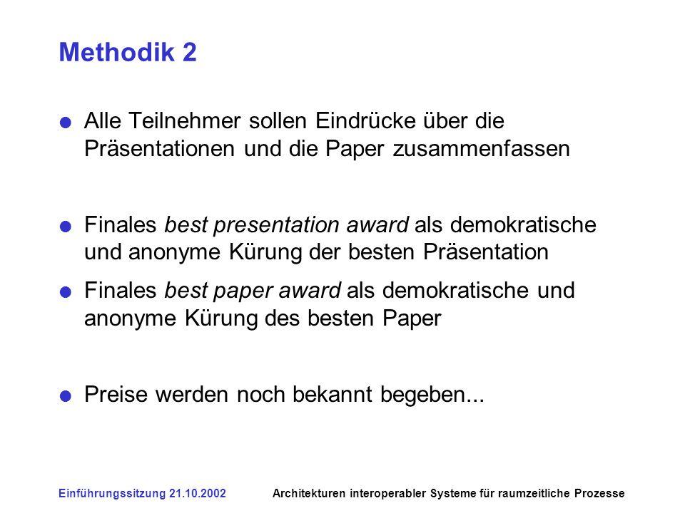 Einführungssitzung 21.10.2002Architekturen interoperabler Systeme für raumzeitliche Prozesse Methodik 2 Alle Teilnehmer sollen Eindrücke über die Präs
