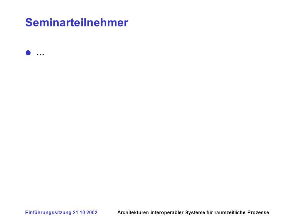 Einführungssitzung 21.10.2002Architekturen interoperabler Systeme für raumzeitliche Prozesse Seminarteilnehmer...