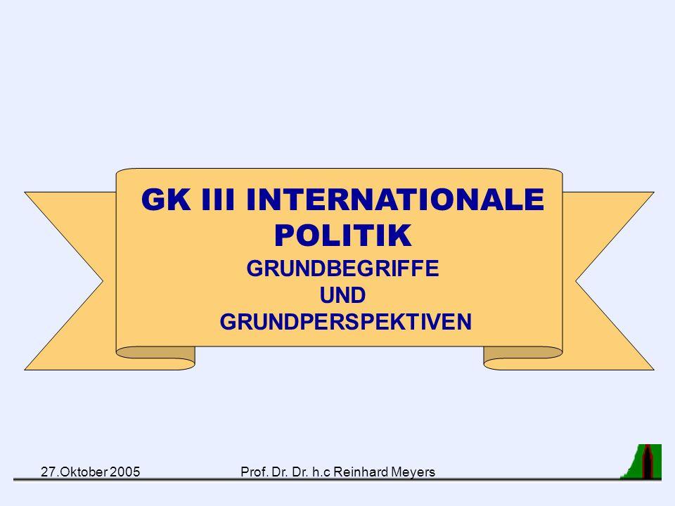 27.Oktober 2005Prof. Dr. Dr. h.c Reinhard Meyers21 Spinnweb-Modell internationaler Beziehungen