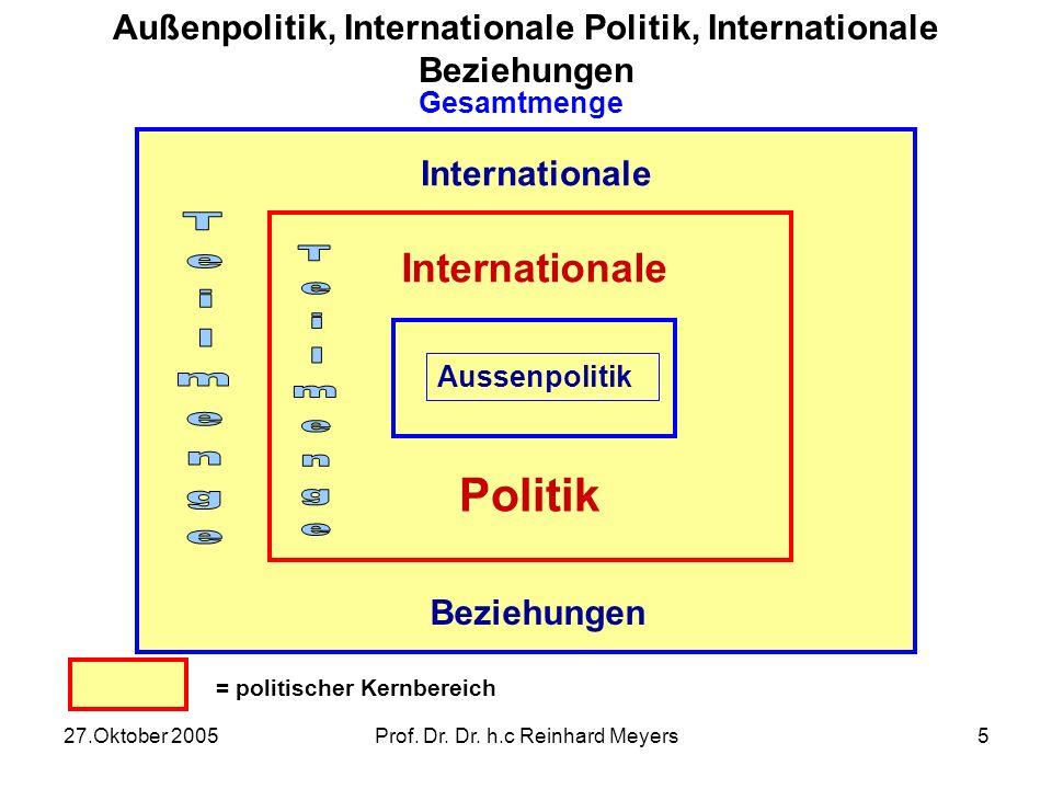 27.Oktober 2005Prof. Dr. Dr. h.c Reinhard Meyers4 Internationale Politik Staat /Akteur A Staat /Akteur C Staat /Akteur B Aktion Reaktion Aktion Reakti