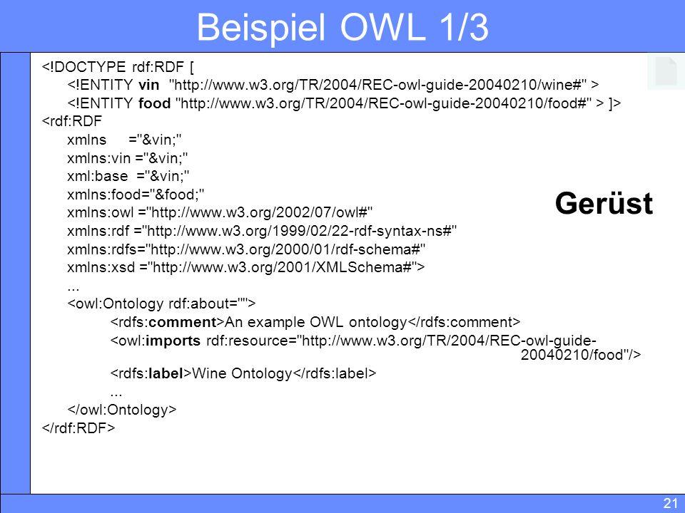21 Beispiel OWL 1/3 <!DOCTYPE rdf:RDF [ ]> <rdf:RDF xmlns =