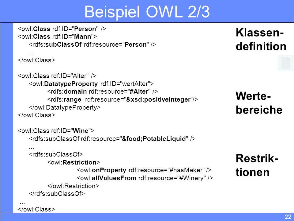 22 Beispiel OWL 2/3......... Werte- bereiche Restrik- tionen Klassen- definition