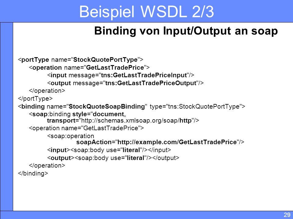 29 Beispiel WSDL 2/3 Binding von Input/Output an soap