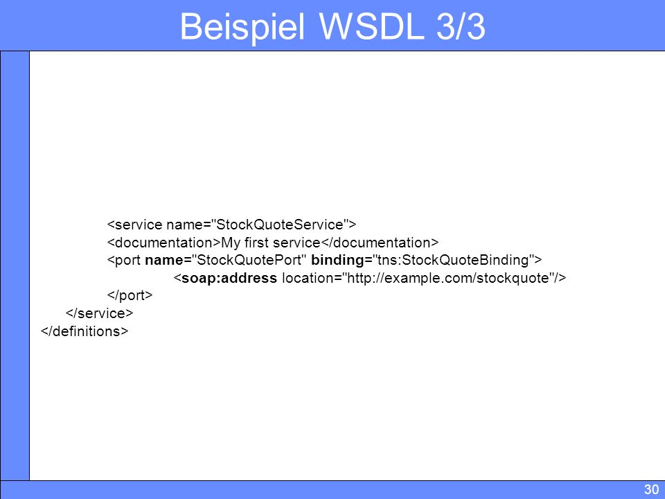 30 Beispiel WSDL 3/3 My first service