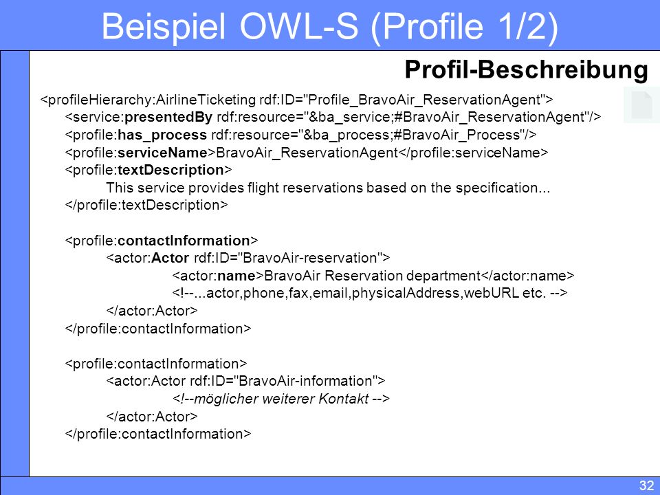 32 Beispiel OWL-S (Profile 1/2) BravoAir_ReservationAgent This service provides flight reservations based on the specification...