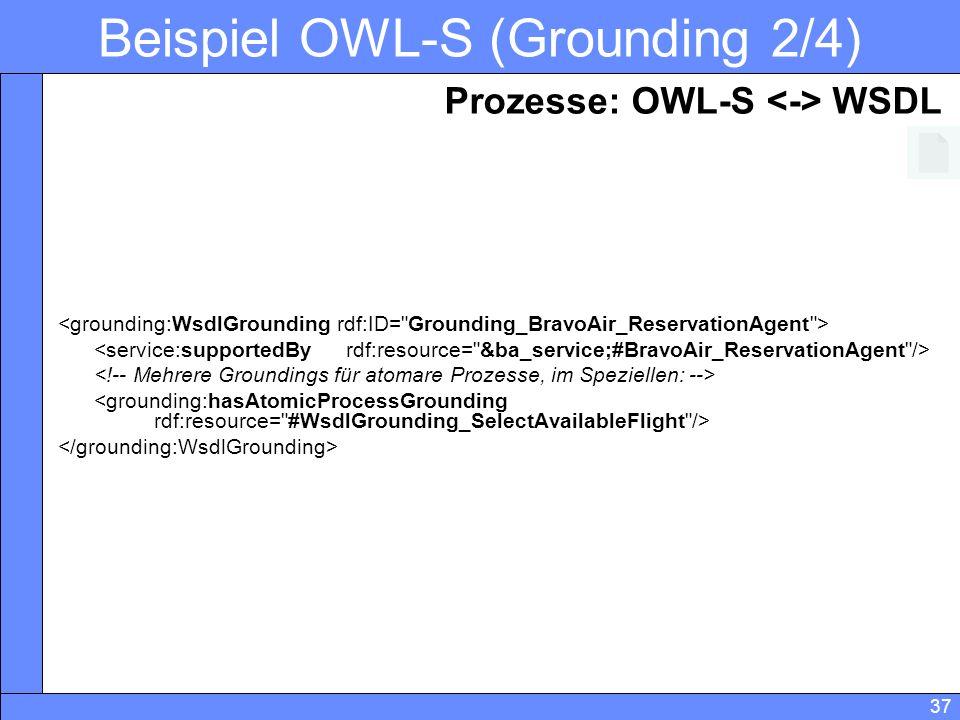 37 Beispiel OWL-S (Grounding 2/4) Prozesse: OWL-S WSDL