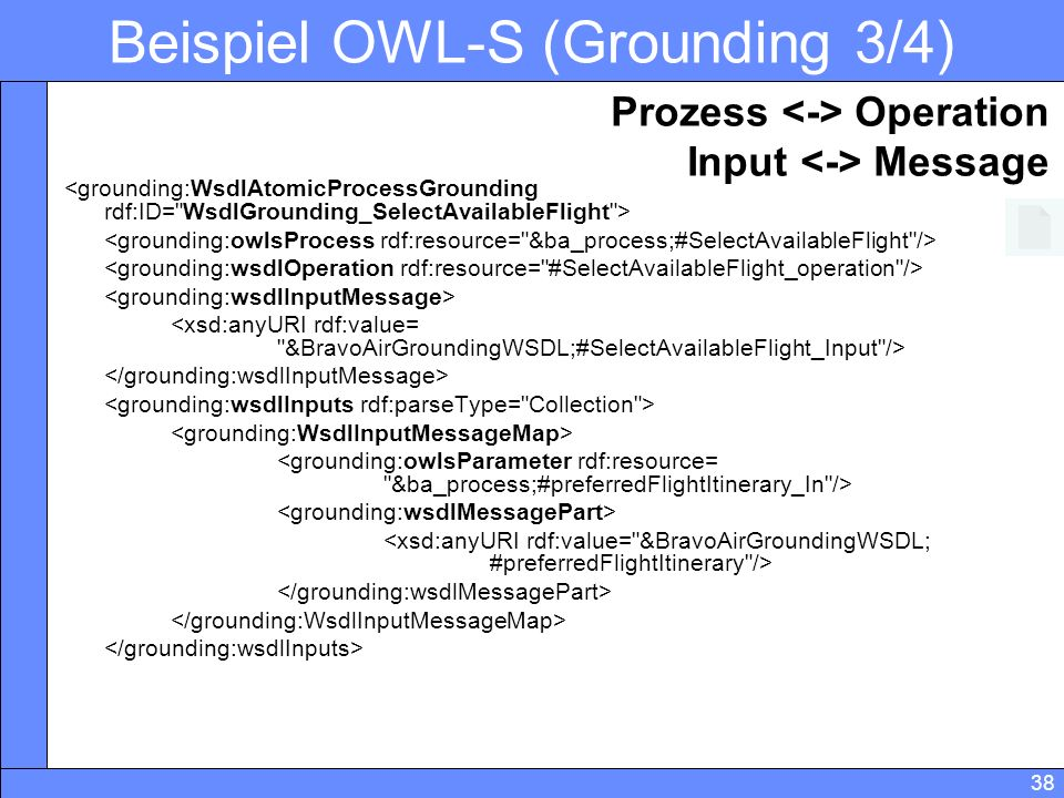 38 Beispiel OWL-S (Grounding 3/4) Prozess Operation Input Message