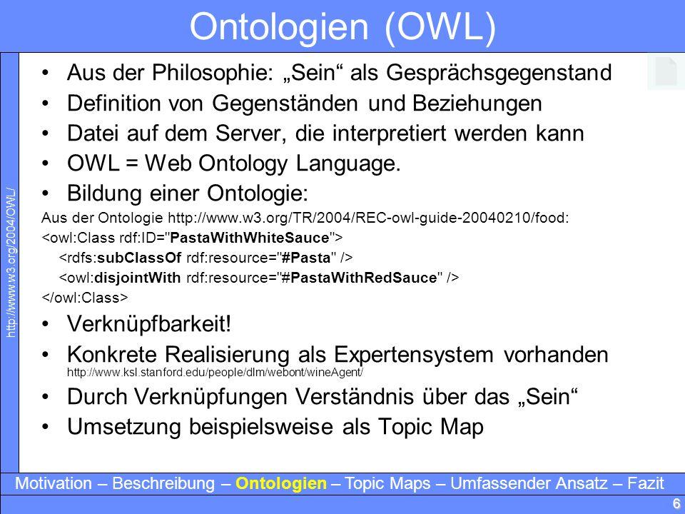 6 Ontologien (OWL) Aus der Philosophie: Sein als Gesprächsgegenstand Definition von Gegenständen und Beziehungen Datei auf dem Server, die interpretie