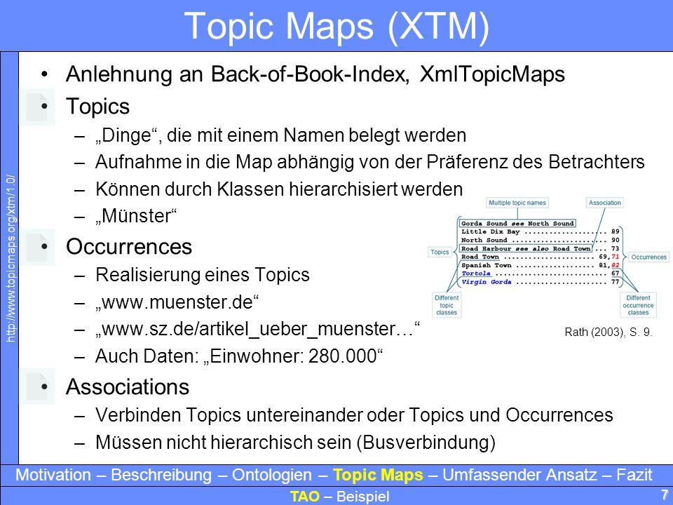 7 Topic Maps (XTM) Anlehnung an Back-of-Book-Index, XmlTopicMaps Topics –Dinge, die mit einem Namen belegt werden –Aufnahme in die Map abhängig von de