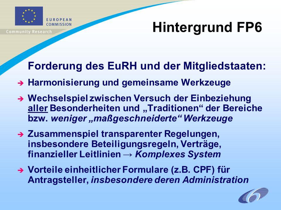 Forderung des EuRH und der Mitgliedstaaten: è Harmonisierung und gemeinsame Werkzeuge è Wechselspiel zwischen Versuch der Einbeziehung aller Besonderheiten und Traditionen der Bereiche bzw.