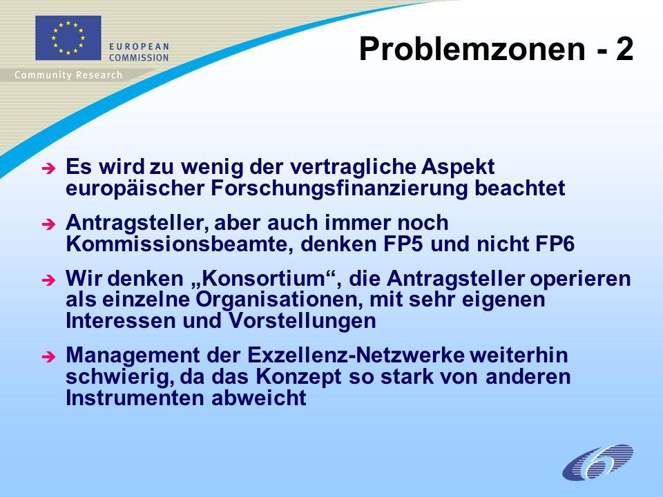 è Es wird zu wenig der vertragliche Aspekt europäischer Forschungsfinanzierung beachtet è Antragsteller, aber auch immer noch Kommissionsbeamte, denken FP5 und nicht FP6 è Wir denken Konsortium, die Antragsteller operieren als einzelne Organisationen, mit sehr eigenen Interessen und Vorstellungen è Management der Exzellenz-Netzwerke weiterhin schwierig, da das Konzept so stark von anderen Instrumenten abweicht Problemzonen - 2