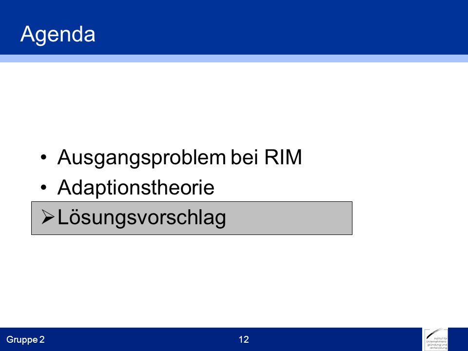 Gruppe 212 Agenda Ausgangsproblem bei RIM Adaptionstheorie Lösungsvorschlag