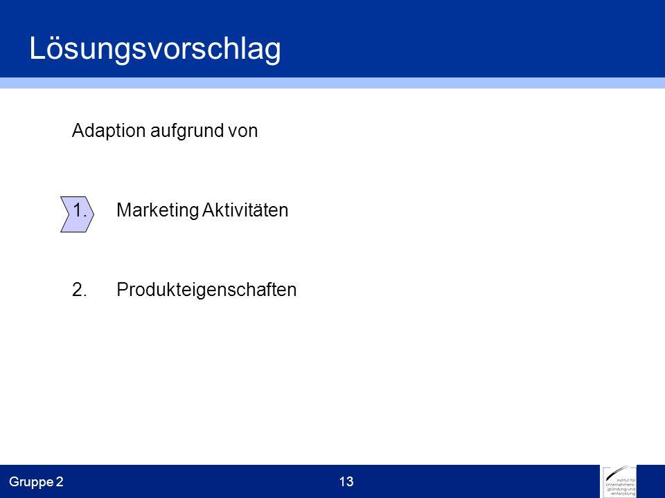 Gruppe 213 Adaption aufgrund von 1.Marketing Aktivitäten 2.Produkteigenschaften Lösungsvorschlag