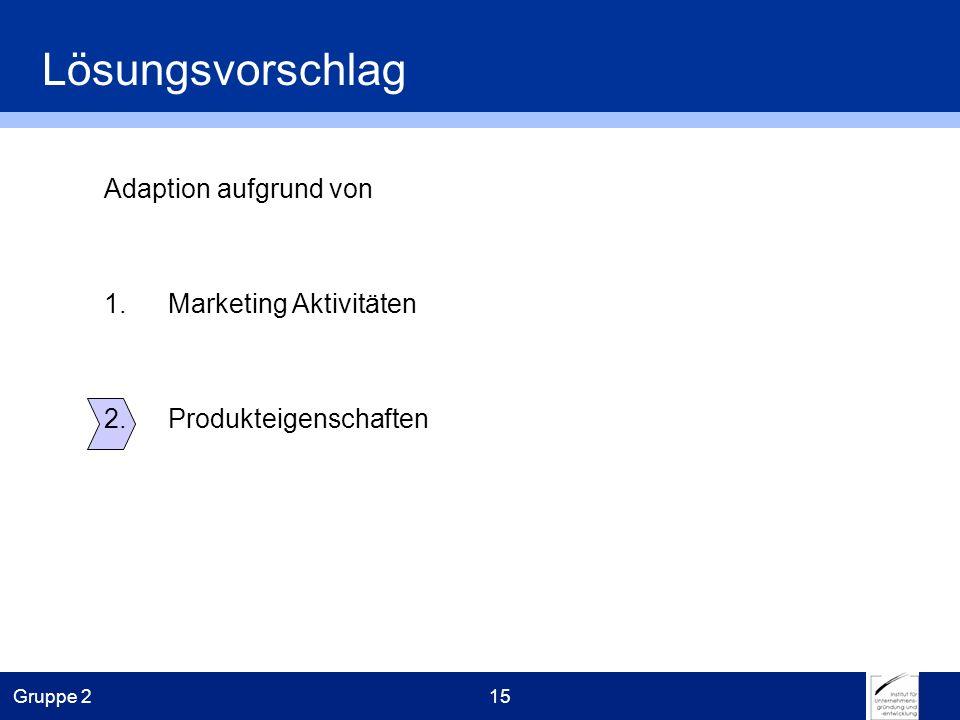Gruppe 215 Adaption aufgrund von 1.Marketing Aktivitäten 2.Produkteigenschaften Lösungsvorschlag