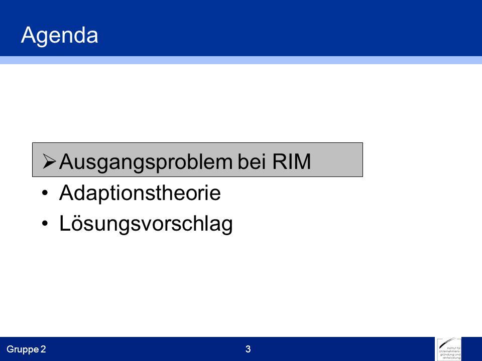 Gruppe 23 Agenda Ausgangsproblem bei RIM Adaptionstheorie Lösungsvorschlag