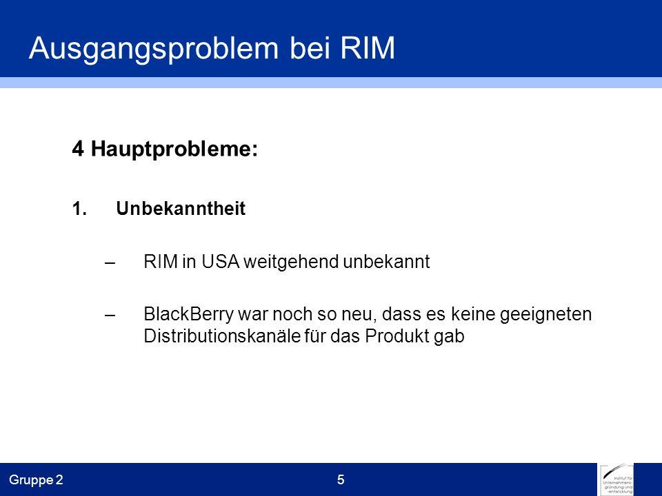 Gruppe 25 Ausgangsproblem bei RIM 4 Hauptprobleme: 1.Unbekanntheit –RIM in USA weitgehend unbekannt –BlackBerry war noch so neu, dass es keine geeigneten Distributionskanäle für das Produkt gab