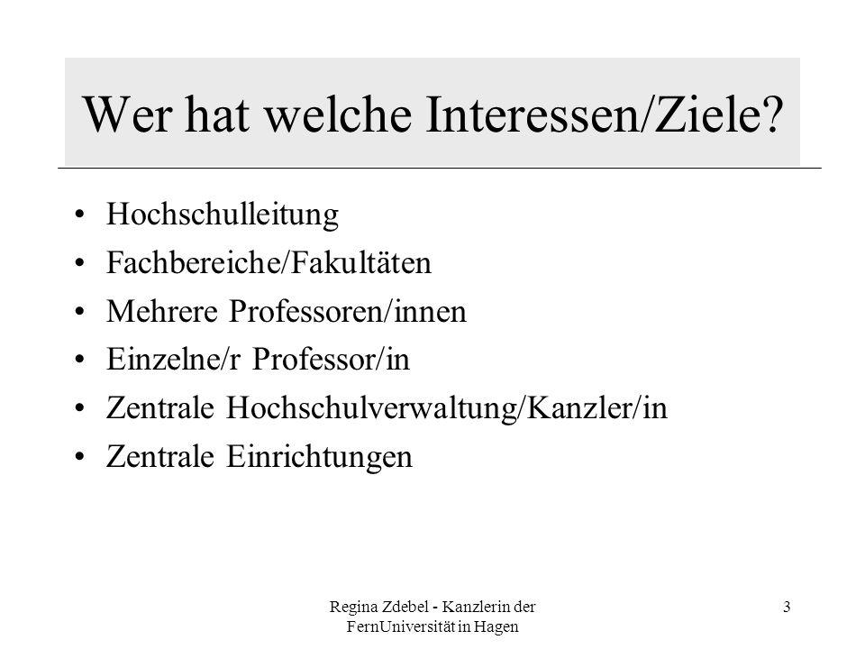 Regina Zdebel - Kanzlerin der FernUniversität in Hagen 3 Wer hat welche Interessen/Ziele? Hochschulleitung Fachbereiche/Fakultäten Mehrere Professoren